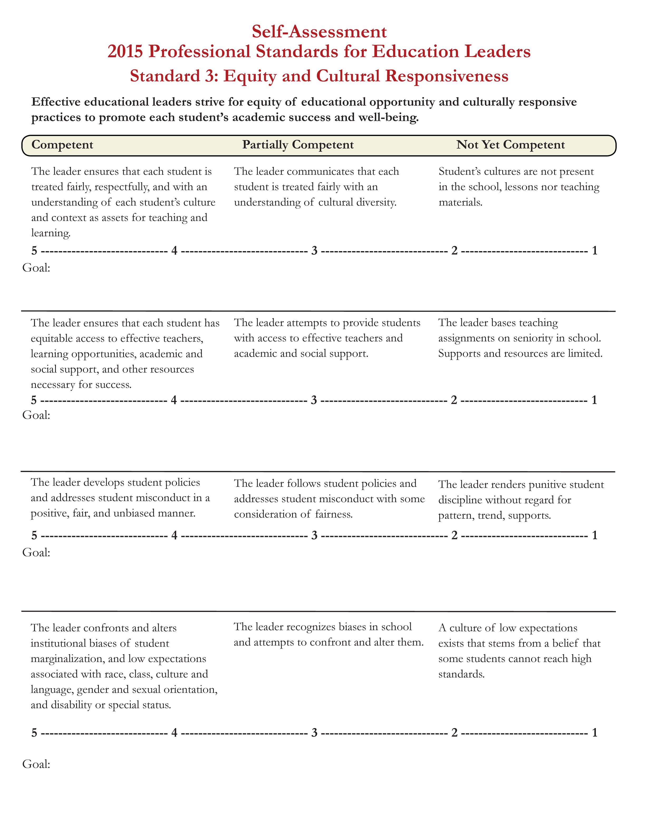 Self-Assessment Standard 3