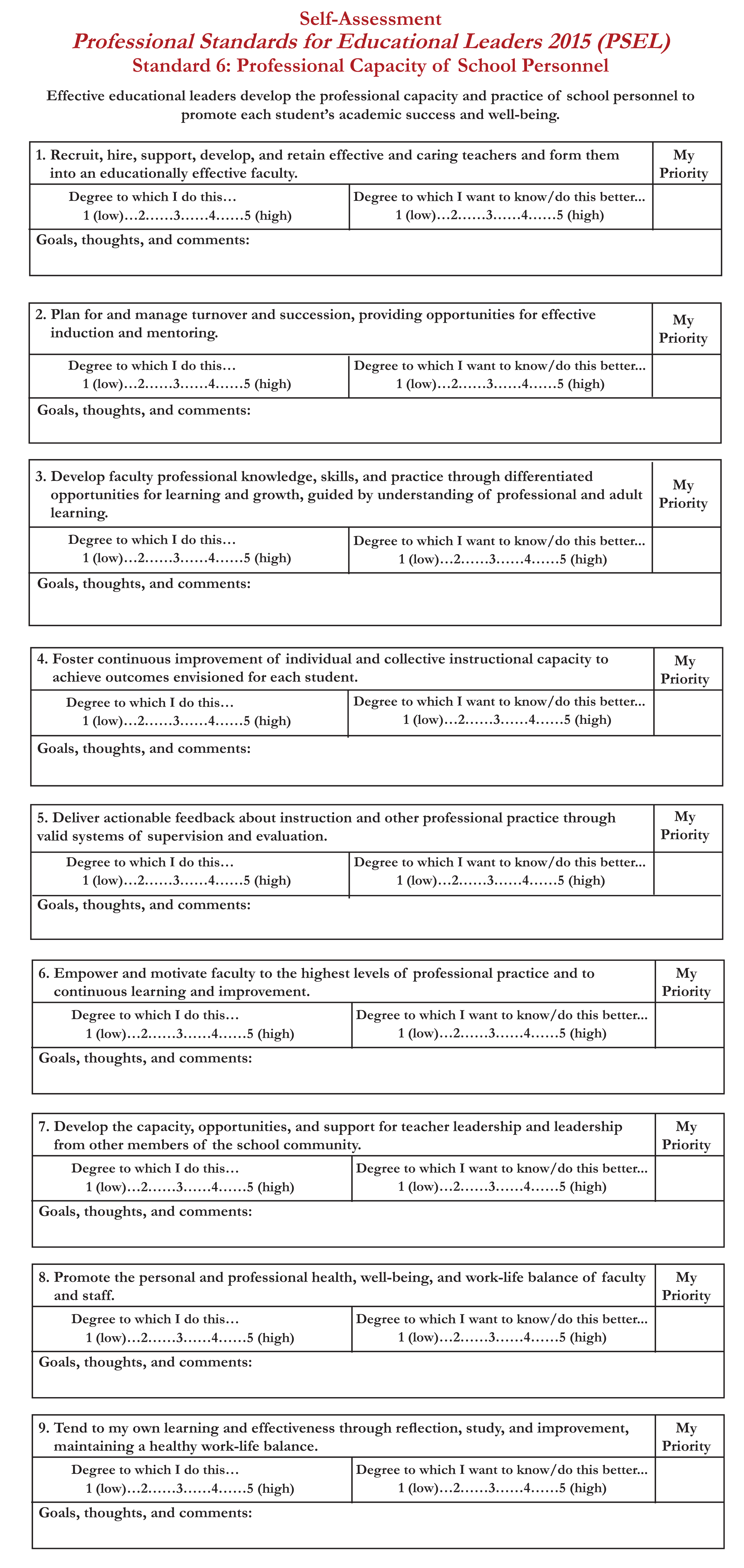 PSEL-Self-Assessment Standard 6